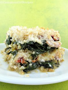 This delectable casserole starts with a base of greens, crumbled bacon and parmesan cheese. All of that deliciousness is smothered with a rich, creamy sauce, topped with buttery bread crumbs and baked to a hot, bubbly mess! Veggie Side Dishes, Main Dishes, Spinach Gratin, Frango Chicken, Good Food, Yummy Food, Tasty, Vegetable Recipes, Meals