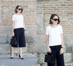 Get this look: http://lb.nu/look/7798570  More looks by Trini Gonzalez: http://lb.nu/trinig  Items in this look:  The Row Sunglasses, The Kooples Top, Daniel Wellington Watch, 3.1 Phillip Lim Culottes, Anya Hindmarch Bag, The Kooples Heels   #chic #classic #minimal #culottes #heels #navy