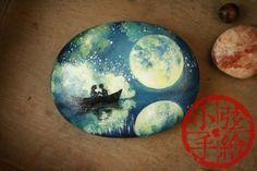【小弦石头铺】似水流年【5】 创意手绘石头礼物 摆设