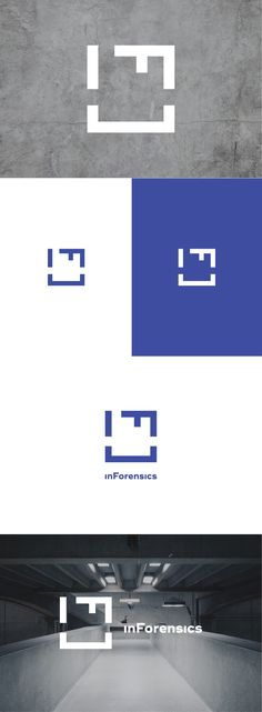 "Logo design for inForensics, a Moscow-based loss reassessment, and insurance adjustment consulting brand. The letters ""I"" and ""F"" together form a stable square/focus symbol. Designed by LET'S PANDA, Vancouver."
