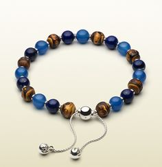 bamboo bracelet with light blue chalcedony & lapis