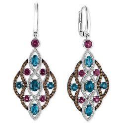 @levian_jewelry. These earrings are sweet! Sparkling droplets of #LeVian #Raspberry Rhodolite and Deep Sea #Blue # Topaz atop a backdrop of Vanilla #Diamonds and #ChocolateDiamonds #earrings #Spring #Bling #Jewelry @macys