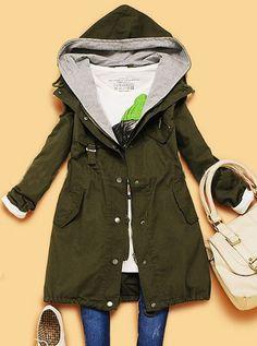 Dark Green Hooded Long Sleeve Drawstring Pockets Trench Coat
