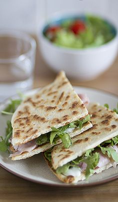 """Piadina"" , the classic one is with ""prosciutto crudo"", ""squaccherone""(fresh cheese). Region: Emilia Romagna"