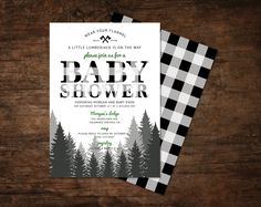lumberjack baby shower invitation winter baby by SpruceAndWillow