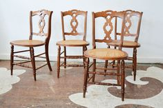 "Set of four dining chairs with caned seats and turned legs. The caning is in perfect condition.    16"" wide x 32"" high seat height: 17""    $975.00 to purchase the set, as shown   $185.00 each to make a seat cushion with ties   3.5 yards needed, total Cushions, Seat Cushions, Chair, Caning, Furniture, Turned Leg, Dining Chairs, Home Decor"