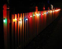 Christmas Lights on Fence
