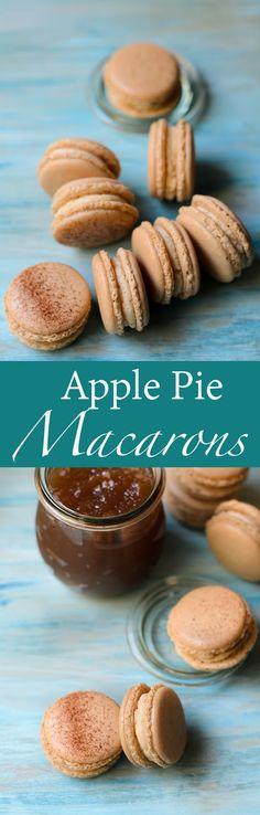 Apple pie macarons recipe. Apple pie macarons using apple tea to give the macaron shells, a subtle hint and taste of apple. Fill the macaron shells with apple pie buttercream and apple butter.