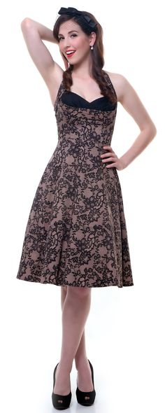 Stop Staring Pink Lace Covergirl Swing Dress - Unique Vintage - Cocktail, Pinup, Holiday & Prom Dresses.