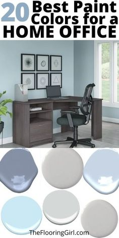 The 20 best paint colors for home offices to maximize productivity and improve your mood. Best Office Colors, Office Wall Colors, Best Wall Colors, Office Color Schemes, Best Paint Colors, Paint Colors For Home, House Colors, Cores Home Office, Home Office Paint Ideas