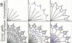 Cristal Gelées - Step by Step Zentangle Pattern by Katelyn Polahar (TheLonelyMaiden) Zentangle Drawings, Doodles Zentangles, Doodle Drawings, Tangle Doodle, Zen Doodle, Doodle Art, Zantangle Art, Zen Art, Doodle Patterns