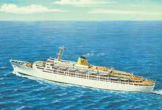 Fairstar sailing under the Sitmar banner. Later acquired by P Australia. Carinthia, Ship Paintings, Australia Travel, Titanic, Golden Age, Sailing, The Past, Odd Stuff, Ocean