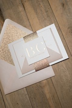 BLAIRE Suite Glitter Package, Rose Gold can't be beat this year! Rose Gold Foil, Rose Gold Glitter, Blush Envelopes! foil stamping, rose gold, glitter, wedding invitations