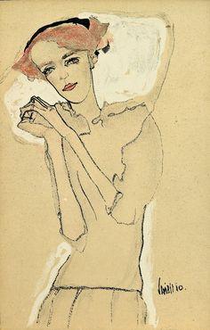 Egon Schiele, Frauenbildnis mit gefalteten Händen, 1910