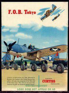 1943 WW II BREWSTER SB2A Buccaneer WWII WW2 Curtiss Propellers AD