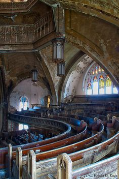 abandoned.  Curvy Presbyterian church in Detroit.