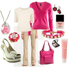 Cute summery look, for the week of summer we get ~ Pinky, created by tsbegley.polyvore.com