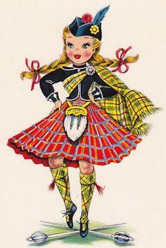 Vintage Home Arts - Counted Cross Stitch Pattern Chart Graph - International Doll Scotland Lass Scottish Highland Dancer ScottishHighlandDoll