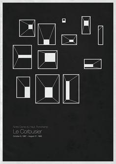 'Six Architects' posters by Andrea Gallo,Le Corbusier / © Andrea Gallo