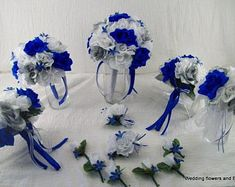 Royal Blue Silver and White Bridal Boquets Silk Rose Wedding Package Roses 13 pieces made to order Brides on a Budget WeDDiNG BouQuets Wedding Flower Design, Blue Wedding Flowers, White Wedding Bouquets, Rose Wedding, Bridesmaid Bouquet, Bridal Bouquets, Zulu Wedding, Ribbon Wedding, Wedding Blue