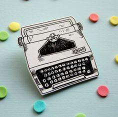 Vintage Typewriter Brooch - Black and White Shrink Plastic