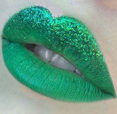 Green glitter lips shared by on We Heart It Green Lipstick, Glitter Lipstick, Lipstick Art, Lipstick Shades, Lipsticks, Lipstick Designs, Lip Designs, Makeup Art, Lip Makeup