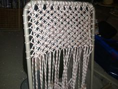 Macrame Lawn Chair..Alternating Square Knots...couldn't find a decent Chair cover to replace existing so decided to go for the Macrame Look...6 chairs took 6 months...3 hours oer day.