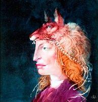 Nő portré rókadíszes fejfedővel by Endre Szasz