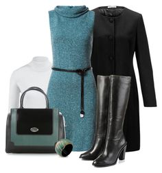 Office outfit: Petrol - Black - White by downtownblues on Polyvore featuring polyvore, fashion, style, NOVICA, LA MARTINA and clothing