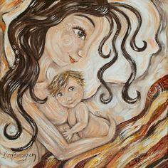 Cálido abrazo-dormir la madre y el niño Archival firmado imprimir de maternidad de 12 x 12