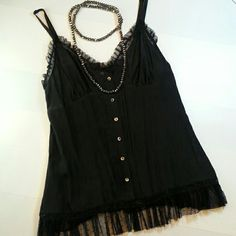 Silk Lacey Chemise Top NWOT 100 percent silk classy lingerie.  Very burlesque.  Never worn.  Was too small just never returned it.  Perfect condition.  Necklace not for sale. Frills Nordstrom Tops