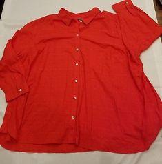 ceceeb3e6cd  Catherines 3x petite 26 28 plus blouse button up orange collar shirt long  sleeve