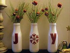Use Old Starbucks Bottles for DIY Christmas Decorations Christmas Time Is Here, Noel Christmas, All Things Christmas, Winter Christmas, Handmade Christmas, Christmas Projects, Christmas Vases, Christmas Ideas, Christmas Bathroom