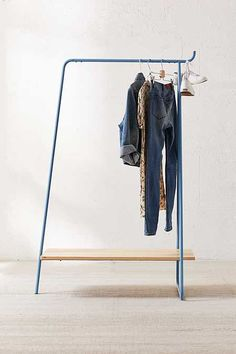 Rolling Clothing Rack Tutorial: My wife needed a simple, pretty, DIY clothing rack for her women's clothing boutique; here's how we built one. DIY Rolling Clothes Rack, a. Learn how to Double Your Wardrobe House Diy Coat Rack, Diy Shoe Rack, Shoe Racks, Shoe Storage, Storage Rack, Storage Ideas, Diy Clothing, Boutique Clothing, Rolling Clothes Rack