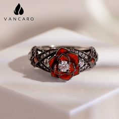 Vintage Rose Ring For Women In 925 Sterling Silver Fashion Rings, Fashion Jewelry, Rose Necklace, Black Jewelry, Vintage Roses, Black Rings, Silver Color, Gemstones, Sterling Silver