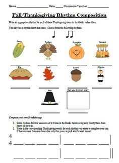Fall/Thanksgiving Rhythm Activities (Flash Freebie!)