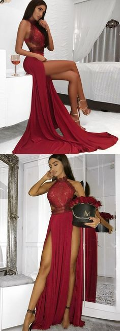 Sexy Prom Dress A-Line High Neck Floor-Length Dark Red Prom Dress with Lace Split  by Miss Zhu Bridal, $139.00 USD