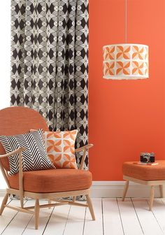 Riad Fabric on curtains, Agra and Rosette Tile cushions, Rosette Tile Lampshade.