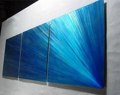 """Metal Wall Art Abstract Painting a Sculpture by Nider the Internationally Acclaimed Artist of Contemporary Decor - 76""""W x 24""""H - Comet"""