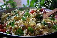 Tejszínes-sonkás tagliatelle Pasta Salad, Risotto, Potato Salad, Potatoes, Ethnic Recipes, Kitchen, Food, Tagliatelle, Crab Pasta Salad