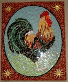 Stained glass rooster mosaic wall hanging.