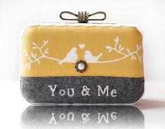 Love Bird Wool Embroidered Box Clutch Hand Painted Linen Messenger Bag Yellow Grey Wedding Gift Mori Girl Minaudiere. $34.99, via Etsy.