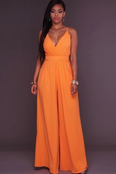 Orange Plunging V Neck Spaghetti Straps Sexy Wide Leg Jumpsuit @ Sexy Rompers And Jumpsuits For Women-Strapless Jumpsuit,Long Sleeve Jumpsuit,Long Sleeve Romper,Short Rompers,Floral Romper,Strapless Romper,Floral Jumpsuit,Backless Jumpsuit,Black Jumpsuit,Denim Jumpsuit,V Neck Jumpsuit