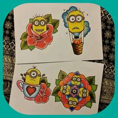 Minion designs by me  #oldschooltattoo #girlytattoo #uktattoo #uktta #sheffieldtattoo #cutetattoo #customtattoo #bestofbritish #miniontattoo #minion #minionmandala #rosetattoo #rose #mandala #mandalatattoo #hotairballoontattoo