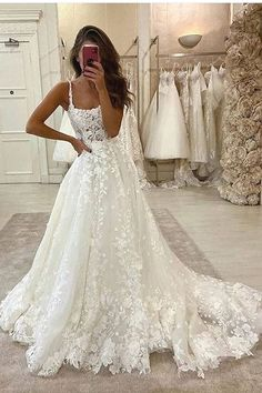 Gorgeous Ball Gown Scoop Neck Open Back Lace Wedding Dresses, Wedding - Source by - de novia de encaje Wedding Dress Black, Scoop Wedding Dress, Boho Wedding Dress With Sleeves, Open Back Wedding Dress, Top Wedding Dresses, Wedding Dress Trends, Dresses With Sleeves, Backless Wedding, Wedding Ideas