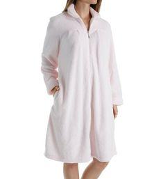Softies by Paddi Murphy 9620-40 Plush Velour Short Zip Robe (Pink M), Women's, Size: Medium