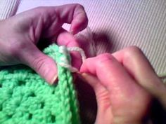 How to Crochet - Join Granny Squares with Whip Stitch in Inner Loops