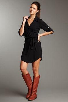Black shirt dress & cognac boots