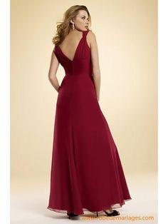 Robe de soirée rouge bordeaux col V en mousseline