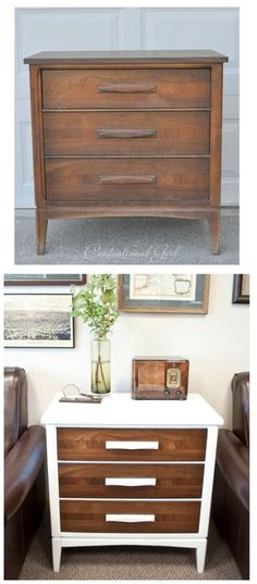 Top 60 Furniture Makeover DIY Projects - White + Wood Chest The next time you are shopping in your local thrift store and see that old chest of drawers, buy it. You can completely remake it into something that will look beautiful in the living room with just a little white paint.